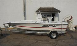 2016 Epic 21SC center console equipped with Evinrude E-tec 150 hp outboard motor. Boat includes wind guides, Kicker bluetooth radio, 2 speakers, Sea Star hydraulic steering, front and rear livewells, 5 rod storage left, 5 rod storage right,6 rod
