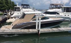 Well built, stylish bow rider with lots of amenities. Air conditioned cabin, separate head, generator, Axius joystick with skyhook. Full enclosure canvas and cockpit cover. This boat will not disappoint. Trades Considered. CANVAS BIMINI TOP BOW COVER -