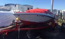 Trades considered.CANVAS BIMINI TOP BOW COVER (RED) COCKPIT COVER DECK SKI TOW WALK-THROUGH WINDSHIELD ELECTRICAL 12 VOLT SYSTEM BATTERY ELECTRONICS STEREO MECHANICAL BILGE BLOWER BILGE PUMP COCKPIT CONTROLS ENGINE ALARM HOUR METER (30 HOURS) MANUAL FIRE