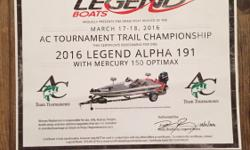 Certificate for a 2016 Alpha 191 with Mercury 150 optimax and trailer also includes the standard equipment listed at http://legendmarine.com/alpha191 Can be redeemed or upgraded through any Legend dealer with the purchaser choosing the colors and adding