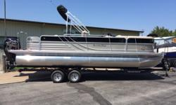 "Mercury 150 4 stroke, Yacht Club tandem trailer, Seastar hydraulic steering, playpen cover, ski tow, rod locker, portable cup holder, stereo upgrade, full teak vinyl floor, 24"" removable bench Fuel tank capacity: 27 Hull color: Black/Platinum Boat cover;"