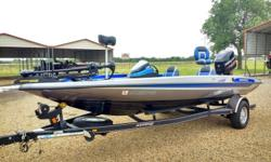 This boat is in EXCEPTIONAL MUST SEE TO APRECIATE CONDITION! with hot foot, steering mounted turn signal tilt & trim, jack plate, hydraulic steering, Stratos trailer with brakes & swing away tongue, alloy wheels with matching spare, just put 2 brand new