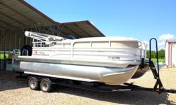 "22ft. Party Barge XP3 triple toon with lifting strakes, ""just 22hrs.!"" 115hp Mercury 4 stroke Command Thrust motor, tandem trailer with brakes, hydraulic steering, ski tow, stereo, bimini top, rear lounge bed floor plan, factory custom cover, in EXCELLENT"