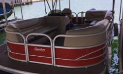 2016 Suntracker Party Barge 20 DLX Pontoon Boat 90 Elpt Mercrusier 4-stroke Engine Boat Comes With A Full Cover 10 Year Transferable Warranty 8 Years Warranty On The Motor Propane Grill Bimini Top Anchor 2 Tables With Cupholders Lowrance Hook Five Depth