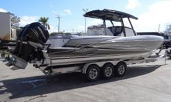 "The ALL NEW Miami Boat Show Sunsation 32 CCX is here! The latest Sport Center Console in the award winning CCX ""Center Console Xtreme"" lineup has a 9' Beam and powered with Twin Mercury Verados 350's achieves 75 MPH. Hull designer Tres Martin has teamed"