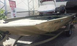 LIKE NEW CONDITION. PURCHASED NEW IN OCTOBER OF 2015. POWDER COAT CAMO PAINT PATTERN, SINGLE AXLE TRAILER. GUN & GEAR STORAGE. GREAT DUCK BOAT. HAS BEEN ON THE LAKE ONE TIME, IT WAS TOO SMALL FOR HIS CREW, SO HE IS PURCHASING A