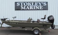 """At 17'1"""" and with a wide 78"""" beam, the GRIZZLY 1754 MVX SC (side console) is an incredibly spacious and stable aluminum jon boat, and can be powered by up to a 75 HP motor. This versatile boat sports a 7° deadrise for a smooth, dry ride. And the solid"""