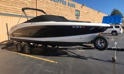 Like-new large bow rider, this single-owner 2017 Chaparral 246 SSi was purchased as a new-leftover in spring of 2018 and houses a paltry 9 hours on her Mercruiser 6.2L Bravo 3 engine/drive. Boasts the following: premium stereo upgrade, canvas, bimini,
