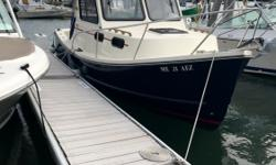 Stop by Yarmouth Boat Yard today to see the 2017 Eastern 248 Explorer!She comes equipped with a Garmin 7610, electric windshield wiper, swim platform with ladder, extended bow roller and more. An added touch of class with the L-shaped settee & sink, and