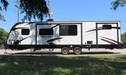 **SALE PENDING**USED TRAILER - SHOWS AS NEW Dual LP tanks w/ Auto Change Over Electric Awning w/ LED lights Power Stabilizer Jacks Tinted Safety Windows Central Vacuum System FM/AM/CD/DVD player with indoor and outdoor speakers Black Tank Flush 13,500 BTU