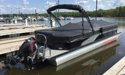 STANDARD FEATURES: ACCESSORIES o 12 Volt Outlet and USB Port o Central Easy Open Sundeck Latch o Cooler, Soft Side o Cupholders, Stainless Steel o Furniture, Comfort Touch Marine Vinyl o Dinette Table o Gas Tank, 43 Gallon V-Toon o Gauges - Fuel, GPS