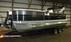 2017 Montego Bay 8524 RFL Pontoon & Mercury 200HP Verado 4-Stroke EFI. Motor Has Only 81 Hours On It And Runs Great! This Two Tone Rear Facing Pontoon Has Lounge Bench Seating Up Front With Storage, Side By Side High Back Captain's Chairs, Rear Facing