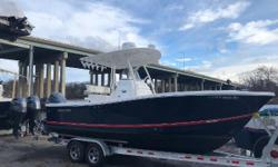 2017 Regulator 23 powered with a Yamaha F300 with just 140 hours.  Flag Blue hull with full hull color and flag blue bracket.  Boat has Black anti-fouling bottom paint.  Factory T-top with rocket launchers and white powder coating.