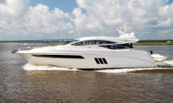 This 2017 Sea Ray L590 has been lightly used, has full extended warranty on engines until January 2020, and Zeus pods until December 2020, with only 96 hours on her triple Cummins QSC 8.3L engines. She boasts nearly every available option, and her