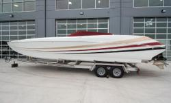 2017 Sonic 32 Cat, Twin Mercury Racing 565 with DTS, 6 person cockpit, (18 hours - 120 mph), ITS XR drives, Herring 32 pitch props, vessel view 4, Garmin 7610, Fusion head unit, Livorsi gauges, cockpit cover. Tandem axle aluminum trailer included.