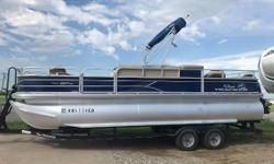 2017 Sun Tracker Fishin Barge 22 XP3 $31000 This boat comes with a transferable factory warranty and a Mercury 150 4 stroke. Lots of extras on this boat! Removable trolling motor, two live wells, rod holders, Bimini top, cover, trailer and spare