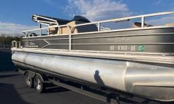 JUST LISTED! 2017 Sun Tracker FISHIN' BARGE® 22 DLX Whether they want to fish, swim or just relax the day away, everyone wins with the FISHIN BARGE® 22 DLX. This pontoon boat is completely loaded and ready to go with everything a crew of 10 needs to enjoy