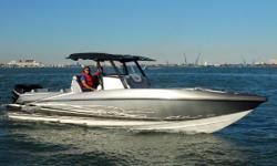 """The ALL NEW Miami Boat Show Sunsation 32 CCX is here! The latest Sport Center Console in the award winning CCX """"Center Console Xtreme"""" lineup has a 9' Beam and powered with Twin Mercury Verados 350's achieves 75 MPH. Hull designer Tres Martin has teamed"""