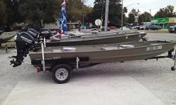 TRACKER TOPPER LW1546 RIVETED JON BOAT ON A TRAILEX TRAILER WITH ADDED SWING TONGUE AND 2017 MERCURY 20 FOUR STROKE ENGINE FEATURES A LIVE WELL, 2 SEATS, LIGHTS AND FIRE EXTINGUISHER MOTOR HAS WARRANTY UNTIL 10/20 $6000.00   YOU CANT BUULD ONE