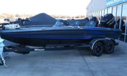 """MERCURY 225L PRO XS, GUN METAL AND NASSAU COLOR,TOURNAMENT PACKAGE, T-H PRO AIR SYSTEM, TILT HYDRAULIC STEERING, HOT FOOT, LOWRANCE HOOK 5 DEPTH FINDER, 15 AMP 3 BNK PRO CHARGER, MINN KOTA FORTREX 80 US2 45"""" 24V TROLLING MOTOR, GRAY BOAT COVER,"""