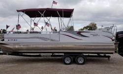 CUSTOM 24 FOOT TRI TOON WITH FULL ALUMINUM UNDERSKIN MADE BY APEX MARINE RIGHT HERE IN ST. LOUIS MICHIGAN. POWERED BY A MERCURY 150XL FOURTSTROKE. THIS BOAT WAS A CUSTOM BUILD. OPTIONS THAT WERE ADDED WERE 6 PEDESTAL BASES THROUGHOUT THE DECK FOR 4
