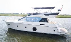 Karen Lynn is a 2018 Monte Carlo 5 that takes advantage of the newest of hull design technology. Powered by IPS 600's she cuts through the water with ease all while posting surprising fuel consumption numbers for a vessel of this size. A few