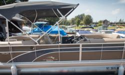 Offered for sale is a Pre-Loved 2018 Bennington 24 SSRCXP by Rivett's Marine Recreation & Service, Inc. In Old Forge, NY. Exterior Color - Smokey Granite with Regatta Blue accent Canvas - Smokey Granite Interior Upholstery Color - Tuscan Dune with