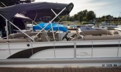 Offered for sale is a Pre-Loved 2018 Bennington 24 SSRCXP by Rivett's Marine Recreation & Service, Inc. In Old Forge, NY. Exterior Color - Metallic White with Smokey Granite accent Canvas - Smokey Granite Interior Upholstery Color - Tuscan Dune with