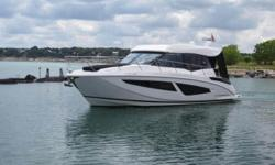 2018 Regal 42 Grande Coupe, Key Features- 740 Horespower Twin Volvo D6 Diesel IPS 500 Pod Drives with Joystick,Sprawling Upper Salon Layout, Expansive Glass Enclosure Doors, Open Air Atrium, Forward Stateroom, Spacious Aft Stateroom, Added Options