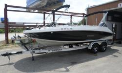- SKI TOW- 2 BIMINI TOPS - POLK AUDIO- SNAP IN FLOOR CARPET- TILT WHEEL- DOCKING LIGHTS, UNDERWATER LIGHTS- HELIX 5 - LIVE WELL - 2 FISH SEATS - WASH DOWN BOW/AFT - REMOTE FOR STEREO/BOW/AFT- PRE WIRE FOR T/M WITH CHARGER Engine(s): Fuel Type: Gas Engine
