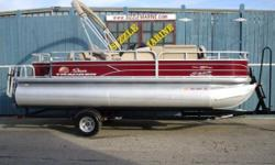 2018 Sun Tracker Fishin' Barge 20 DLX Mercury 9.9 HP Pro Kicker 4 stroke outboard * AM/FM/MP3/Bluetooth capable/12 Volt Input * 7' Quick lift bimini top * Cockpit table * Easy clean Vinyl flooring * Aft 8 gallon livewell * Bow 10 gallon livewell * Bow