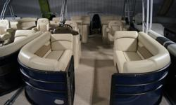 Looking good in Navy! This Crest I 220 SLRC is a new model for this year. It gives you the versatility of a lounger in the back that can be flipped up to create another seat with a backrest. This tri-toon paired with a Suzuki 150 engine will make the boat