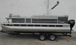 2019 Sweetwater SW 226 BF SR pontoon equipped with Mercury 60 hp 4 Stroke outboard motor. Boat includes bimini top, snap cover, wind guides, rear ladder, livewell, radio, docking lights, vinyl floor, fishing seats, 25' logs and tandem axle trailer with