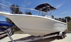 2003 Sea Fox 237 Center Console, clean, lightly used, and ready to fish. This Sea Fox 237 center console has twin 115hp Mercury 4 stroke outboards with approximately 390 hours. With its large console you can easily store a portable toilet or find lots of