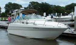 Strong-selling midcabin express gives owners a full measure of comfort, performance in a stylish package. Upscale interior with compact galley, stand-up head with shower, convertible dinette sleeps six. Aft stateroom has curved sliding window for