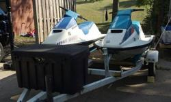 1988 & 1991 running great and ready for the lake. Two 1996's not running but have good hulls. One needs a Motor ($500.00) and the other one ???? Two Double trailers, one with storage locker and the other ( the Party Trailer) with two storage bins, two 5