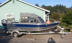 """Excellent boat, well maintained and exceptionally easy on fuel. 390 hours on motorHull:.190 bottom, H116 - 5086 aluminum alloyRigid longitudinal box beam bottom bracingExtra strong, welded walk-through windshield with 1/4"""" tinted glassOffshore motor"""