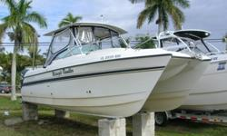 Just in! Powered By Twin Yamaha 150hp 4 Strokes with 800 hrs. One owner, lift kept. Garmin 2006C, Vhf, Filler Cushions, Newer vinyl's and enclosure. Needs some cosmetic work. Motivated seller looking for best offer.