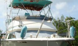 A good looking flybridge cruiser with a nice low cabin profile will run as good as it looks. Sporting twin 370HP Cummings engines separates this one from the rest of herd; most of these have gas engines and less horsepower. A full tuna tower with