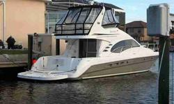 This 44 Sedan Bridge is in superb condition, loaded and ready to go. Only 450 hours on the Cummins 500 QSC diesels. She has forward facing sonar, bow and stern thrusters, and a hydraulic swim platform, all the stuff you want but cannot quite get yourself