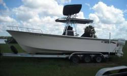 Coastal Marine Center, Inc. 2004 May-Craft 2700 Located in Sarasota, Fl. Call Sales at 888-459-0227 or email Sales@CMCBoats.com for more info. 2004 May-Craft 2700 with twin 175 HP Johnsons 238 hours, trim tabs, spreader lights, t-top, console and leaning