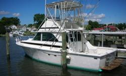This 1973 Bertram 35 Convertible looks 20 years newer. She was repowered with new Mercruisers a few years ago and has only 500 hours since. Carol J is ready to cruise or fish with this great list of features: Generator...AC/Heat...Hot