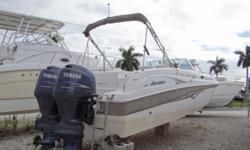 Just In On Trade 2005 Hurricane SD260 Powered By Twin Yamaha 150 HP Outboard Motors That Have 497 Hours. Equipped With New Mooring Cover, Bimini, Electric Head, Clarion Stereo, VHF Radio And Bow, Stern Dive Ladder. WE JUST SERVICED THE MOTORS ! THIS