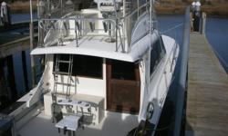 This 36 Jersey Convertible is a classic. Solid fiberglass construction, flared bow and a large cockpit , along with outriggers, rod holders and plenty of lights, make it a perfect fishing boat. She has all the amenities for cruising as well.