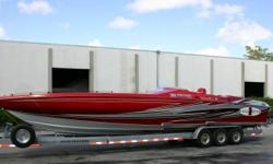 2008 Cigarette Top Gun Unlimited, Mercury Racing 700 SCI's,NXT1 Drives,CMI Headers, Full time mufflers,Kiekhaefer 380-S tabs,Full cabin with bed,Bench seats with backs, Hering Propeller Upgrade 17 x 34 Cast. Please call Sportboats @ 239-466-6117 Draft: 2