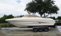 The boat comes with stereo, Cubby head, Cubby refriderator, cooler, VHF radio and Tri Axle Loadmaster trailer.