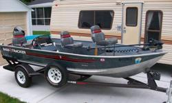 15;9'' v bottom, 25 horse merchery low hours, newer minkota trolling motor, new livewell pump, new tires and bunker wood, very reliable 402-379=9945