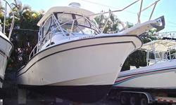 """Powered With Twin 225 Yamaha 4-Stroke Outboards With 736 HRS On Them. Also Includes Hard Top, A/C, Full Enclosure, Windlass With Rode & Anchor, (4) Electric Down Riggers, Raymarine 7"""", Auto Pilot, Radar, VHF, AM / FM & CD Player, Electric Head, Microwave,"""