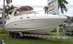 Just in 2002 Sea Ray 280 Sundancer powered by twin 4.3 MPI 220HP Mercruiser. Equipped with full galley, enclosed head with shower & vanity, hot water heater, gen set, A/C and Heat, VHF Radio, stereo, mooring cover, 1 remanufactured engine, 1 long block,