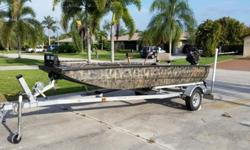 The boat is in excellent, like-new condition and has always been garage kept. It comes with a new (used once) Mud Buddy shaggy blind, Max-4 Camo, camo touch up kit, sacrificial anodes, two spud poles (anchors), led headlights, ect. The 23 hp. Go-Devil